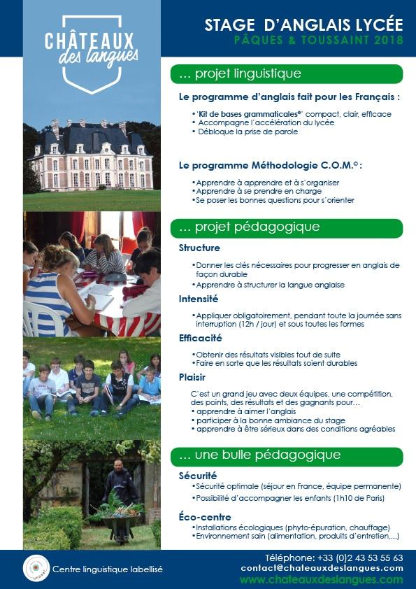 Châteaux des langues - brochure stage lycée